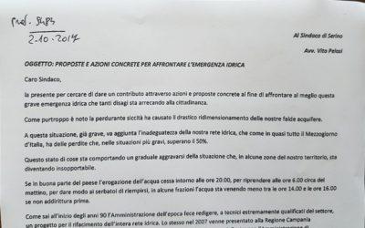 Lettera aperta al Sindaco di Serino. Proposte e azioni concrete per affrontare l'emergenza idrica – RASSEGNA STAMPA