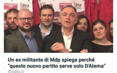 """Intervista rilasciata al quotidiano nazionale """"il Foglio"""" sulla fuoriuscita da Articolo Uno – MDP"""