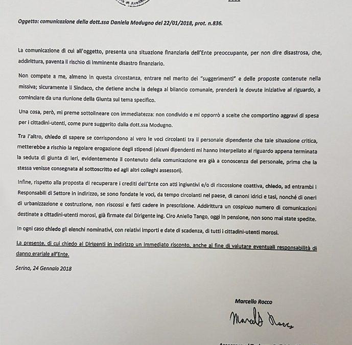 Richiesta di chiarimenti ai dirigenti del Comune Modugno e Grimaldi sulla situazione economica dell'Ente e sulle mancate riscossioni dei tributi comunali – DOCUMENTI in allegato