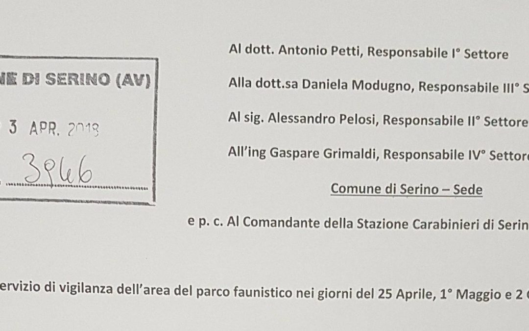 Servizio di vigilanza dell'area del parco faunistico nei giorni del 25 Aprile, 1° Maggio e 2 Giugno