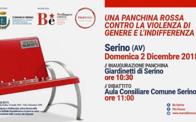 A Serino, domenica 2 Dicembre, una panchina rossa contro la violenza di genere e l'indifferenza – PROGRAMMA, RASSEGNA STAMPA & MENU' PRANZO SOCIALE