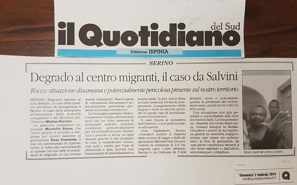 Emergenza centri d'accoglienza immigrati a Serino. Aggrediti Carabinieri. Inviata informativa al Ministro Salvini e al Sottosegretario Sibilia – FOTO, RASSEGNA STAMPA, VIDEO IRPINIA TV & IRPINIANEWS.IT