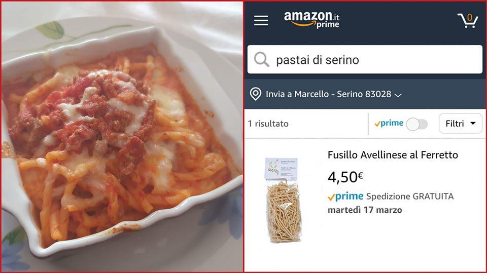 """E' possible acquistare i fusilli artigianali de """"I Pastai di Serino"""", anche da casa, attraverso amazon.it – COLLEGAMENTO AL SITO"""