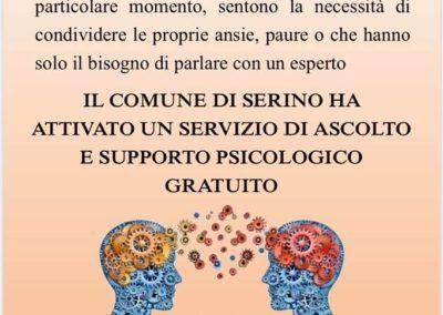 Locandina Comune di Serino servizio psicologico emergenza coranavirus