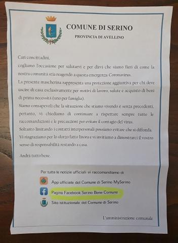 lettera Comune di Serino fronte