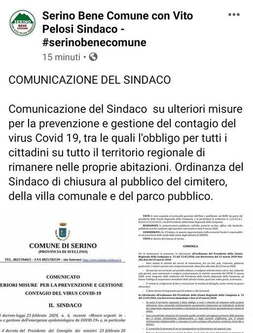 Coronavirus, ordinanza del Sindaco di Serino per chiudere la villa comunale da oltre 10 anni non accessibile ai cittadini – DOCUMENTI IN ALLEGATO