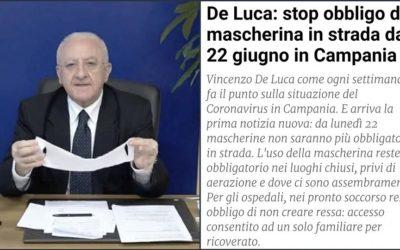 De Luca: stop obbligo di mascherina in strada dal 22 Giugno in Campania – ARTICOLO fanpage.it