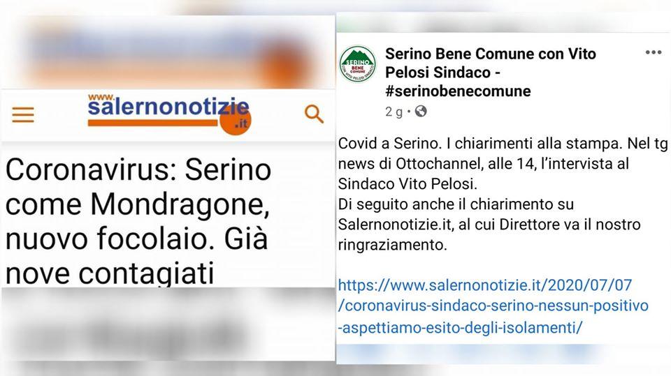 Vergognosamente il Sindaco di Serino ringrazia chi ha diffuso fake news sulla nostra comunità