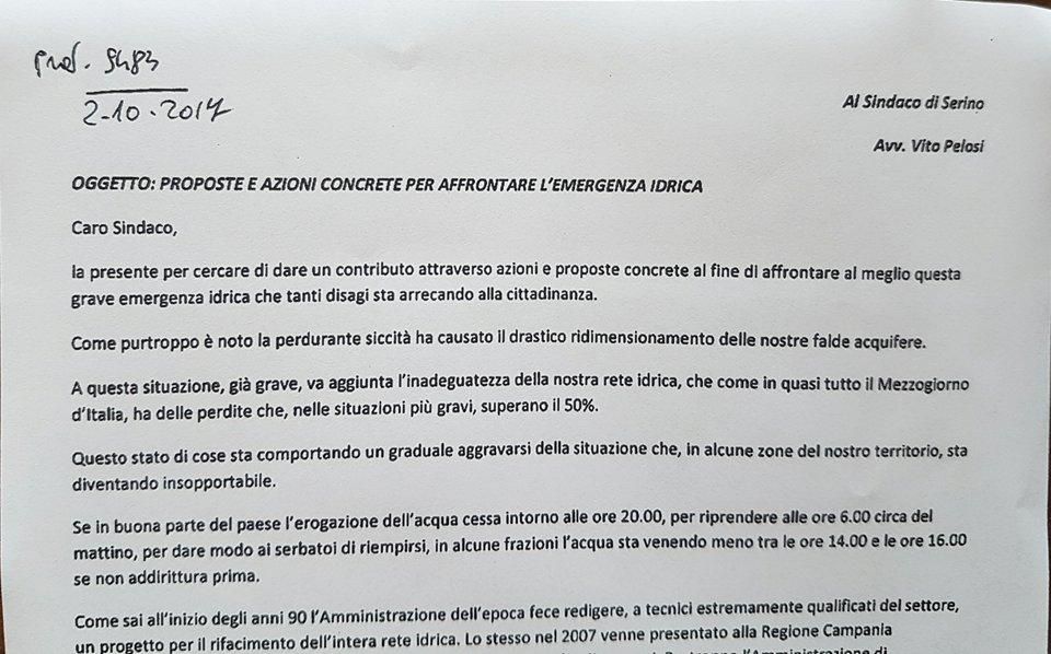 Referendum Costituzionale, rappresentanza democratica ed emergenza idrica a Serino: cos'hanno in comune? – DOCUMENTI IN ALLEGATO