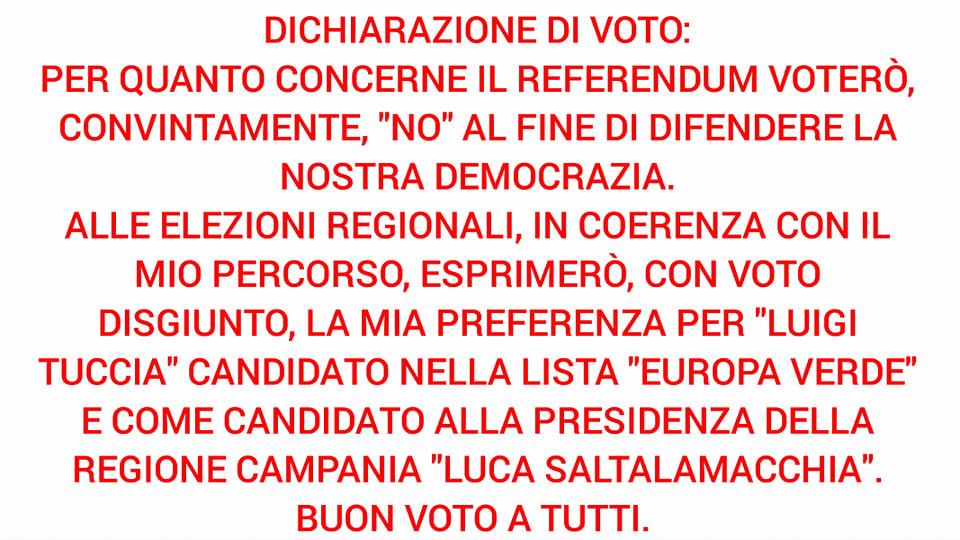 Dichiarazione di voto referendum costituzionale ed elezioni regionali in Campania del 20 e 21 Settembre 2020 – VIDEO & APPROFONDIMENTO