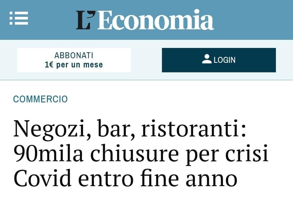 Negozi, bar, ristoranti: 90mila chiusure per crisi Covid entro fine anno – APPROFONDIMENTO