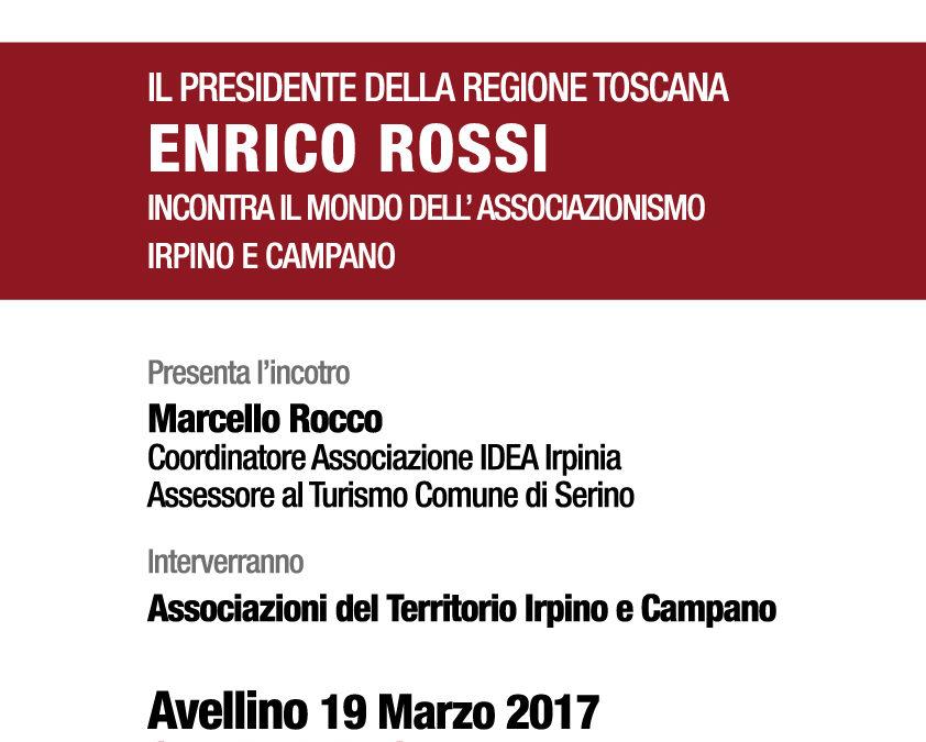 Il Presidente della Regione Toscana Enrico Rossi incontra il mondo dell'associazionismo irpino e campano