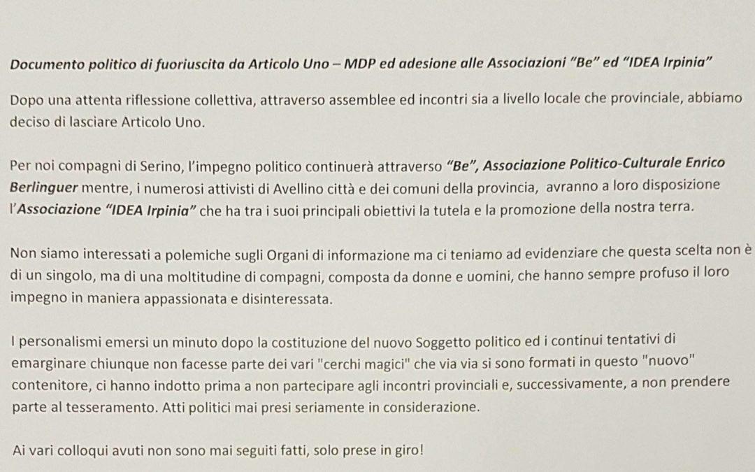 """Documento politico di fuoriuscita da Articolo Uno – MDP ed adesione alle Associazioni """"Be"""" ed """"IDEA Irpinia"""" – RASSEGNA STAMPA"""