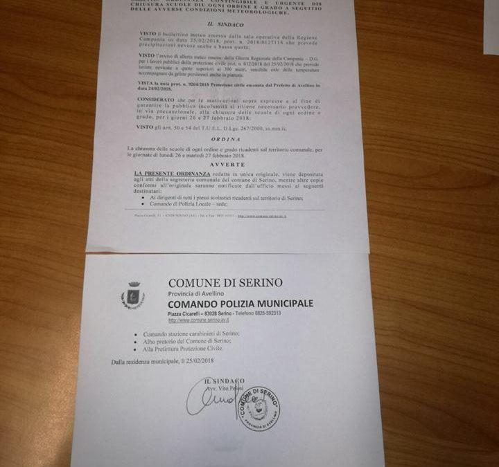 Ordinanza chiusura scuole e disposizioni Prefettura – 25 Febbraio 2018 – Serino (AV) – FOTO