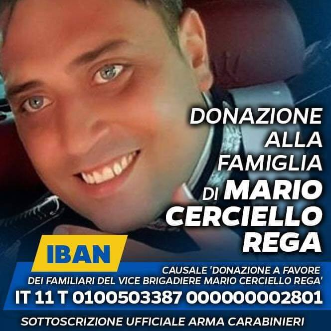 Adesione alla raccolta fondi dell'Arma dei Carabinieri a favore dei familiari del Vice Brigadiere Mario Cerciello Rega – DOCUMENTI IN ALLEGATO