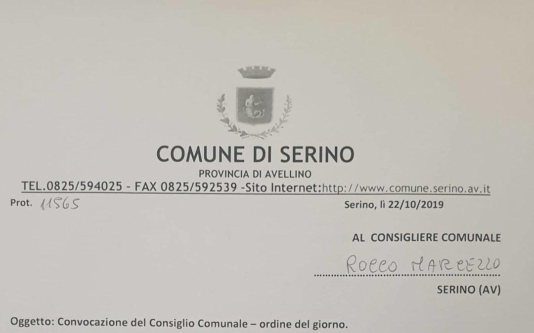Convocazione Consiglio comunale di Serino del 29 Novembre 2019 – DOCUMENTI IN ALLEGATO