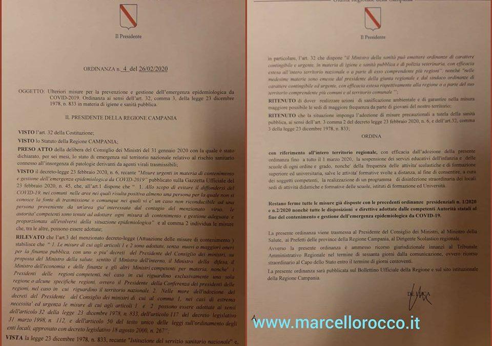 Comunicazione ufficiale Regione Campania su coronavirus: chiusura straodinaria delle scuole per tre giorni – DOCUMENTI