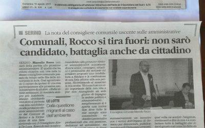 """Rocco: """"Come annunciato pubblicamente, 8 mesi fa, non mi ricandiderò. Lotterò sempre per ciò che ritengo giusto!"""""""